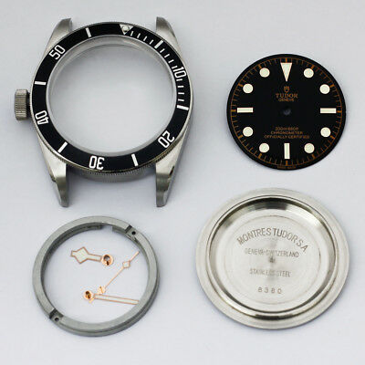 1958 watch rapair parts fit eta 2824 movement watch case kit waterproof black