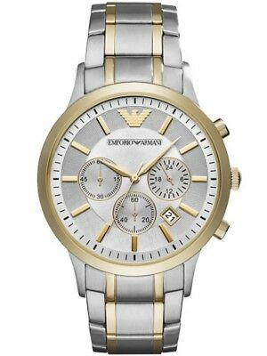 New Emporio Armani Ar11076 Mens Two Tone Watch - 2 Years Warranty - Certificate