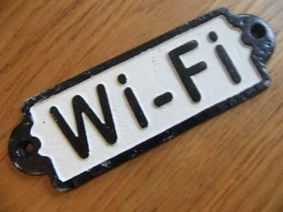 """Fabulous Antique Rustic Style Black & White Cast Iron Sign  """"Wi~Fi"""" Wall Plaque"""