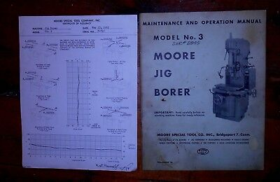 1960s Moore #3 Jig Borer - Maintenance & Operation Manual w/Certificate