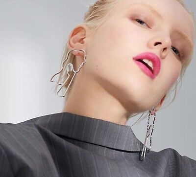 Long Statement Abstract Art Deco Face In Hand Dangle Geometric Earrings