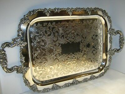"""Large Vintage~ Silverplate 24"""" X 14"""" Tray~ Grape and Vine Border~ Etched Center"""