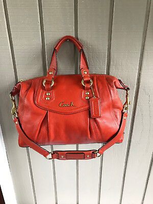 Coach Ashley Leather Burnt Orange Convertible Purse Satchel Tote Bag F19247 7b9ec129e8