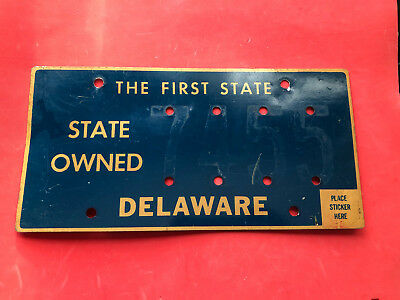 Delaware State Owned  License Plate Vintage Riveted Numbers Are Missing 7455