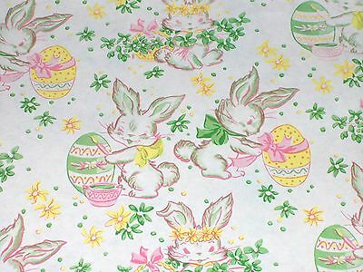 VTG EASTER BUNNY DEPT. STORE WRAPPING PAPER GIFT WRAP 2 YARDS EGGS 1940's
