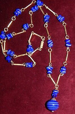 VERY PRETTY VINTAGE ART DECO BLUE SWIRL CZECH GLASS DROPPER NECKLACE  ~ 1930's