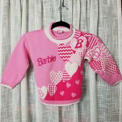 Vintage Barbie Mattel child sweater pink long sleeve hearts embroidered 90s kid