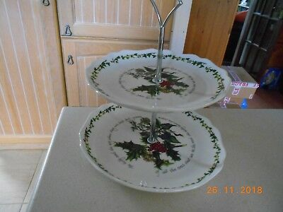 Portmeirion Holly And Ivy Two Tier Cake Plate