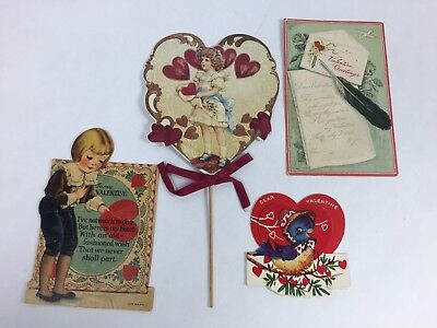 Vintage Valentine Cards Antique Lot of 4
