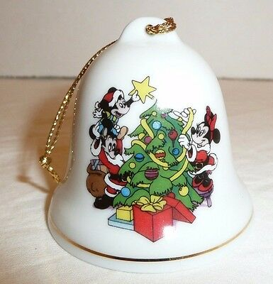 Minnie Mickey Mouse Grolier Collectibles Disney Bell Holiday Ornament Porcelain