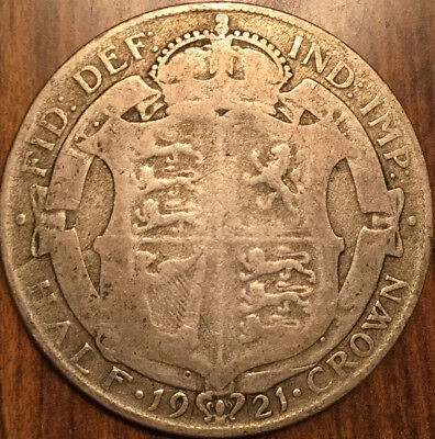 1921 Uk Gb Great Britain .500 Silver Half Crown