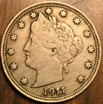 1911 Usa Nickel Liberty 5 Cents Coin