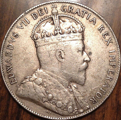 1909 Nfld Newfoundland Silver 50 Fifty Cents A Magnificent Example !