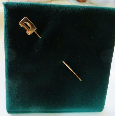 "Interesting Vintage 14kt. Yellow Gold ""D"" Initial Stickpin, Free USA Shipping"