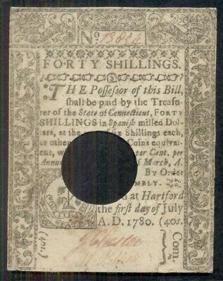 CONNECTICUT, 1780, 40shillings with hole cancel, crisp high quality