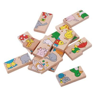 Animal Colored Dominoes Wooden Puzzle Montessori Educational Baby Gift 6A