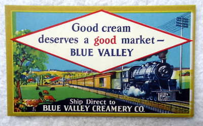 Vintage Ink Blotter Railroad Train Graphic Blue Valley Creamery #d02