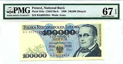 MONEY POLAND 100,000 ZLOTYCH 1990 NATIONAL BANK PMG GEM UNC PICK # 154a RARE