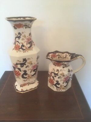 Antique Mason's Ironstone Pair Matching Mandalay Vase And Jug Set Hand Painted