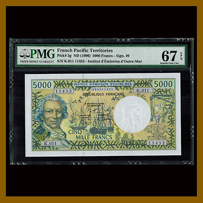 French Pacific Territories 5000 (5,000) Francs, 1996 P-3g Sig #9 PMG 67 EPQ Unc