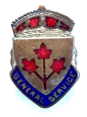 WW2 1st Pattern Canadian Military Discharge Pin ENAMELED & STERLING SILVER