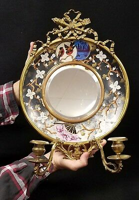 Antique Aesthetic Mirror Candle Sconce Hand Painted Ceramic Plate Bronze Fitted