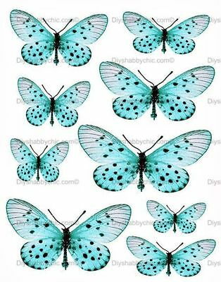 Waterslide Decal Image Transfer Vintage Dainty Butterfly Upcycle Shabby Chic Diy
