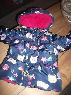 Baby Girls Warm Fur Lined Hooded Coat Age 12-18 Months