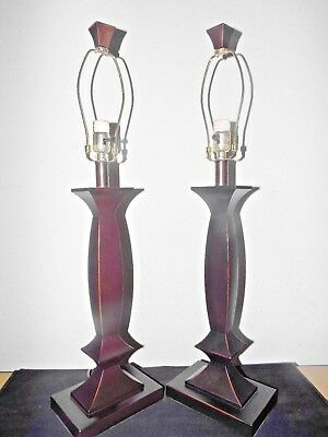 "Lamps A Pair Of 30""h 3-Way Hotel Style Fancy Bronze Color Resin Table Lamps"