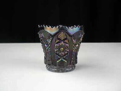 Imperial Diamond Lace Peacock Carnival Toothpick Holder, Vintage Smoke Octagon