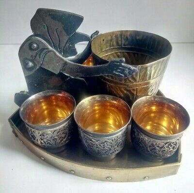 Antique German Arts & Crafts Copper Tray Ignatius Taschner+5 Russian Silver Cups