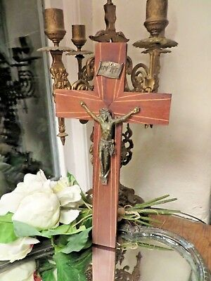 CHARMING VINTAGE FRENCH ART DECO WALL HANGING CRUCIFIX / CROSS   ~ 1930's