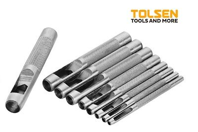 TOLSEN 9pc Hollow Punch Hole Leather Craft  Hole Gasket Puncher 25093