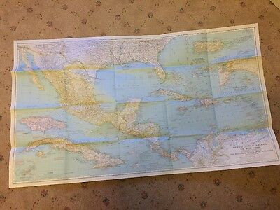 Vintage map. Mexico, Central America & The West Indies National Geographic 1939