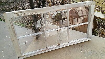 VINTAGE SASH ANTIQUE WOOD WINDOW UNIQUE FRAME PINTEREST 6 PANE 32x19 DISTRESSED