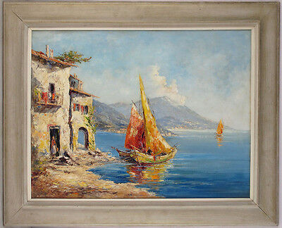 Heinrich Hartung (1888-1966) German Listed Original Large Oil/Panel Sail Boats