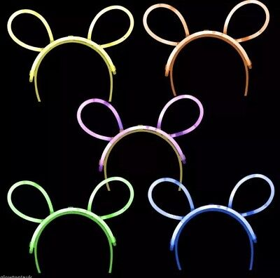 Glow Stick Mickey Minnie Disney Ears Headband Party Neon Yellow Green
