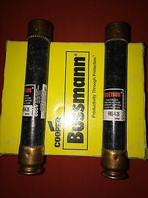 New Bussmann Fusetron FRS-R-25 Amp Fuses Class RK5 600 Volts, LOT OF 2