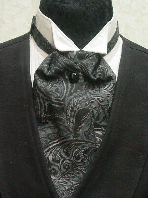 Ascot tie cravat old west wedding style adjustable mens black and gray paisley