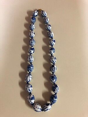 Vintage Blue & White Asian Porcelain Bead Hand Knotted Single Strand Necklace