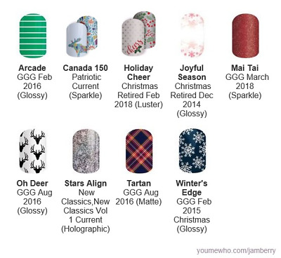 More Christmas & Winter designs ~ Jamberry nail wraps ~ retired HALF sheets