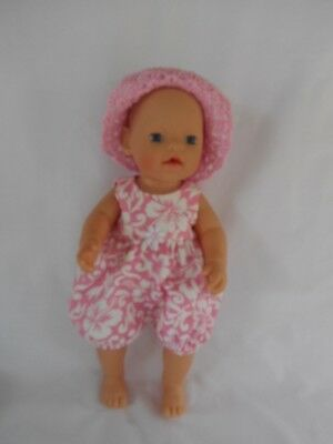 "Handmade dolls clothes (Romper suit, hat set), fit 33cm ""Little Baby Born"" doll"