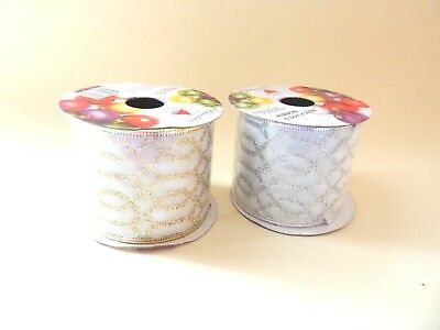 2 x Metallic Sparkly Gold & Silver Ribbon Gift Christmas Present Wrapping