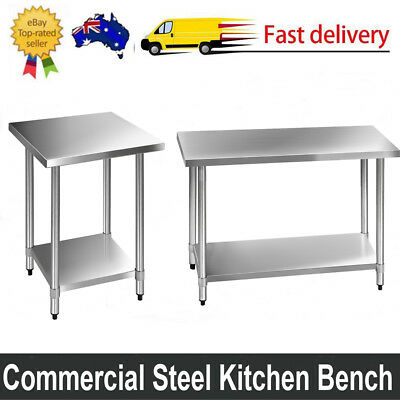 304/430 Commercial Stainless Steel Kitchen Bench Food Grade Prep Table Silver