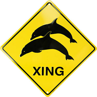 METAL SIGN Dolphin Crossing embossed metal sign 12 x 12 inches