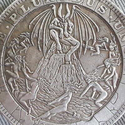 LUCIFER WITCHES' SABBAT BAPHOMET SATAN DEVIL Pagan black magick coin talisman