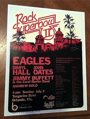 THE EAGLES JIMMY BUFFETT Concert Poster 7-3-1977 ORLANDO FLORIDA No Ticket Stub