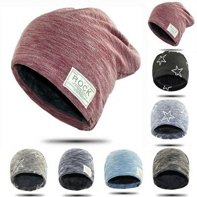 Unisex Camping Hat Winter Beanie Baggy Warm Wool Ski Cap Fleece Lined Women Men