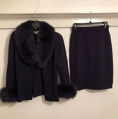 Vintage 90s Purple Fur Cardigan And Skirt Set Wool Blend Small