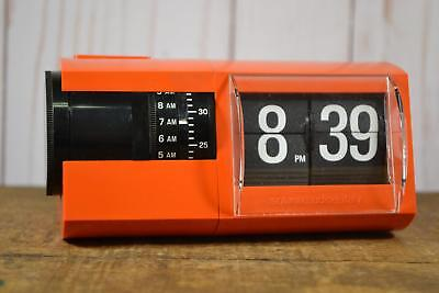 Vintage Italian Solari Cifra 2 Orange Flip Clock 1970's Rare US Current Model